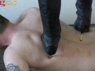 Sadistic German Mistress Trample/Ballbusting In High Heels