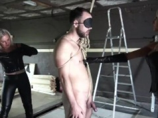 2 sexy girl ballbusting and whipping