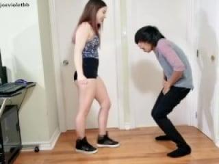 Teenage Brat Girl Practices Ballbusting - Joe Violet