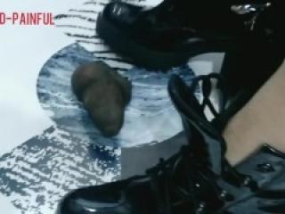 Erotic trampling in Black boots