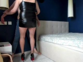 Blue jeans ballbusting: hard kicks in the balls from furious bitch in high heels and stockings