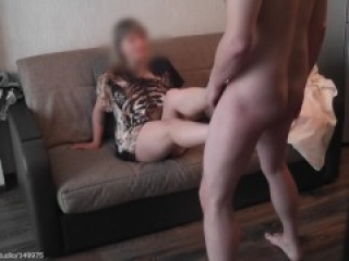 After getting kicked in the balls he cums on her feet | CFNM | ballbusting