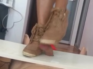 Beige Wedges Cock Crush - clips4sale 128627