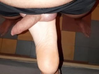 Rubbing & massaging his balls with my feet - Soft ballbusting foot fetish