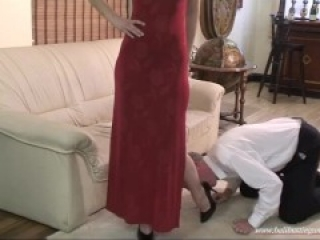 old ballbusting in red dress