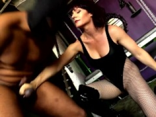Muscular Woman Ballbusting Black Slave