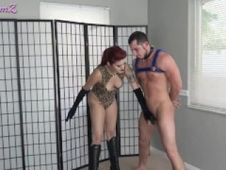 Busted to Tears: hard sexy Ballbusting with leather boots, humiliated