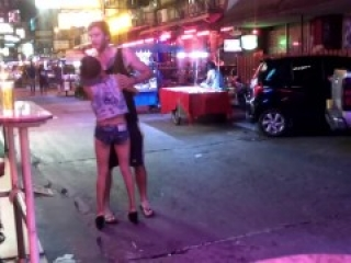 Naughty bargirl at Pattaya nightlife grabs tourist balls - Ballbusting