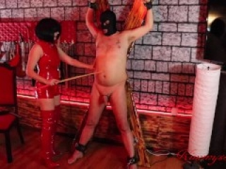 femdom cbt bound handjob latex Mistress tortures huge big cock and balls to a huge flying cumshot