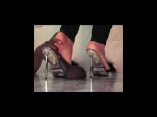 feet in heels crushing cock & ballbusting