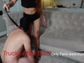 Sexy Asian Mistress Busts The Balls Of Her Cuckhold Sissy Slave and Chokes Him With Daddy's Belt