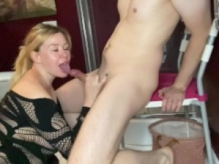Bathroom routine: blowjob and punching cum out of his balls