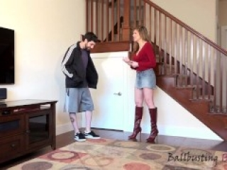 Hot girl in boots ballbust dude