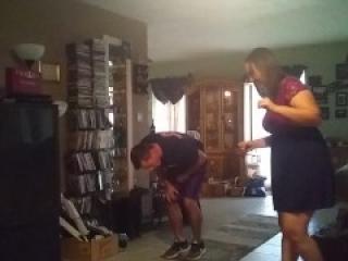 Black belt karate girl ballbusting