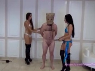 Goddess Beverly ballbusting the slave