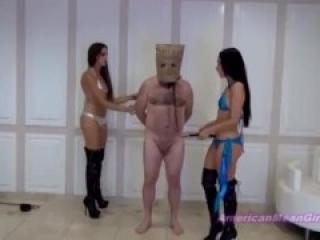 Goddess Beverly ballbusting the slave
