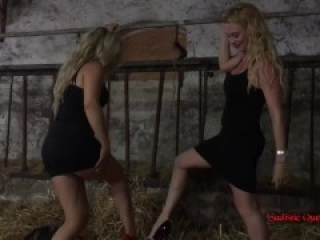 Brutal Barn Ballbusting (Miss Suzanna Maxwell & Miss Courtney)