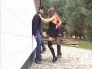two hot girl ballbusting in boots
