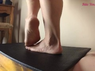 Stomping his worthless cock and balls with all my weight until it cums under submission to my feet !