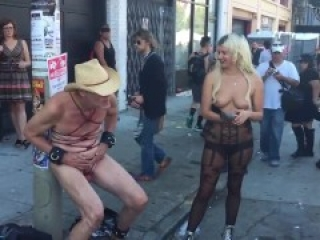 ballbusting her boyfriend @ street