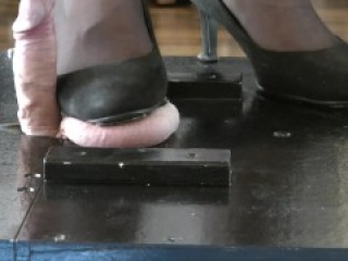 Balls Trampling with heels & barefoot by shemale Domme with cumshot and more postcum trample