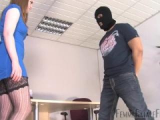Ballbusting Femmefatalefilms - Office balls