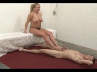 Ballbusting pornstars - Ballbusting femdom milf footjob with Dia Zerva