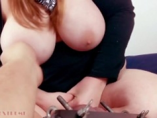 Who Gives Up First? Ballbusting vs. Nipple Squeezing - Hot BBW Redhead with Big Boobs Femdom CBT