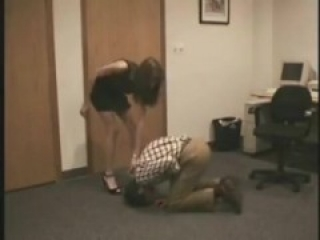 Ballbusting by the secretary