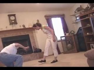 Ashleigh ballbusting the burglar