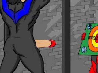 Nightwing ballbusting target practice