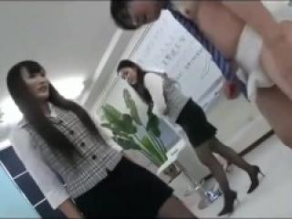 Japanese Office Ladies Learn Ballbusting in High Heels