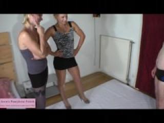 Ballbusting punishment in shiny pantyhose