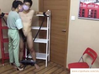 Chinese campus goddess likes torture boy's cock ballbusting handjob milk