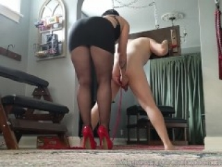 Bastienne Cross Bound and Ballbusted in Heels and Pantyhose Preview