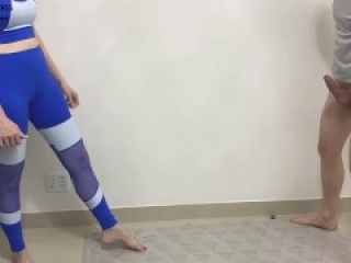 Kicking balls barefoot after gym (Ballbusting)