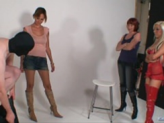 2 Mistress and 1 Apprentice doing some Ballbusting on Male Sub (Femdom)