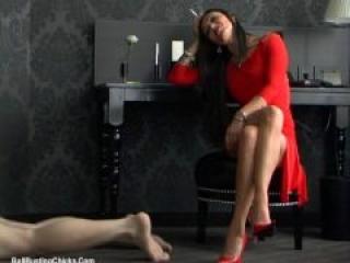 Cruel Femdom Empress Humiliating her Slave (Ballbusting)