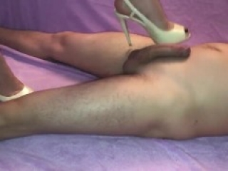 Ballbusting with white heels