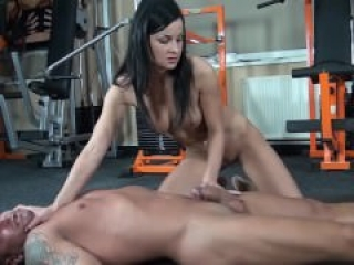Abbie Cat gives some cock torture and a deep throat blowjob to a helpless s